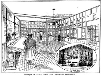 Sketch of the interior of the new Brookline Post Office in Brookline Village, now Caffé  Nero. Boston Globe, December 30, 1902