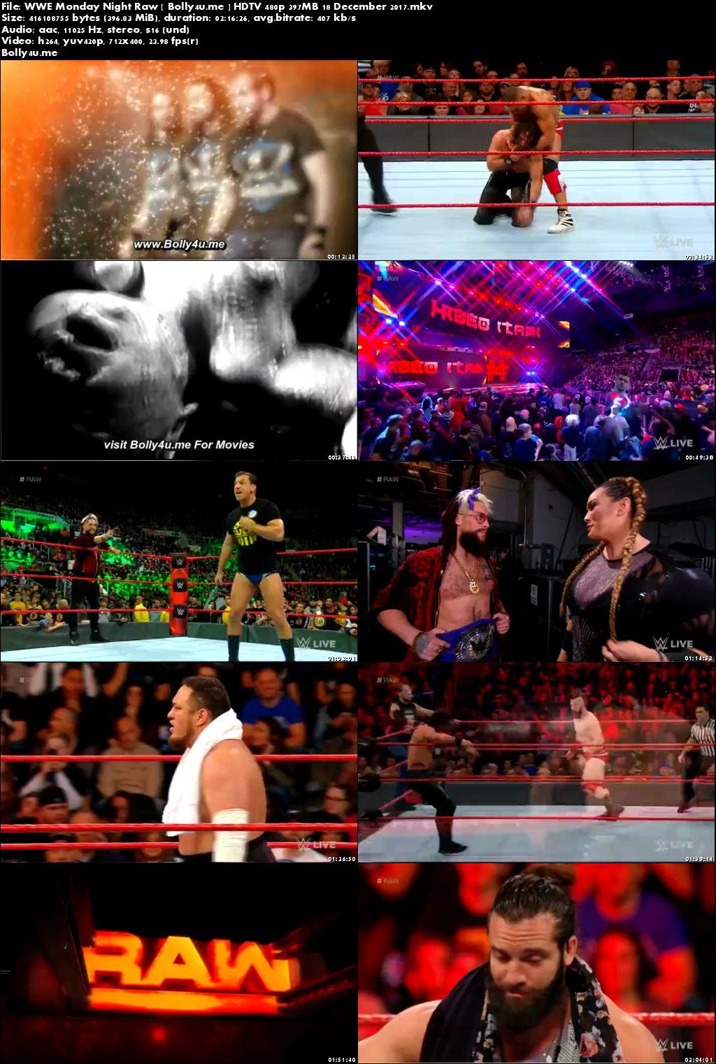 WWE Monday Night Raw HDTV 480p 400MB 18 December 2017 Download