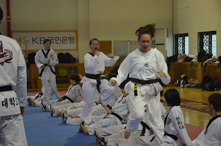 Students from the Colorado Taekwondo Institute working out with the Korean National Team
