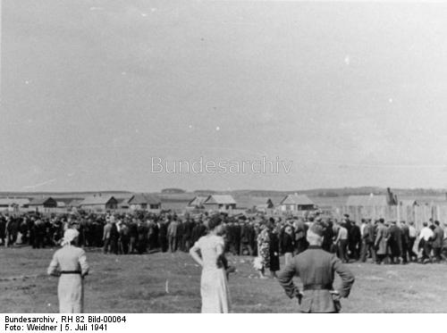 Germans taking Soviet citizens to transit camps, Minsk, 5 July 1941 worldwartwo.filminspector.com