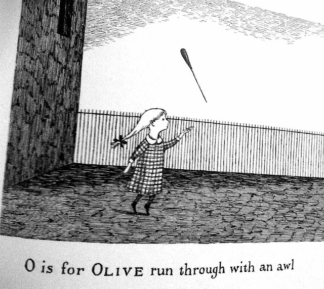 "an Edward Gorey drawing, ""O is for Olive run through with an awl"""