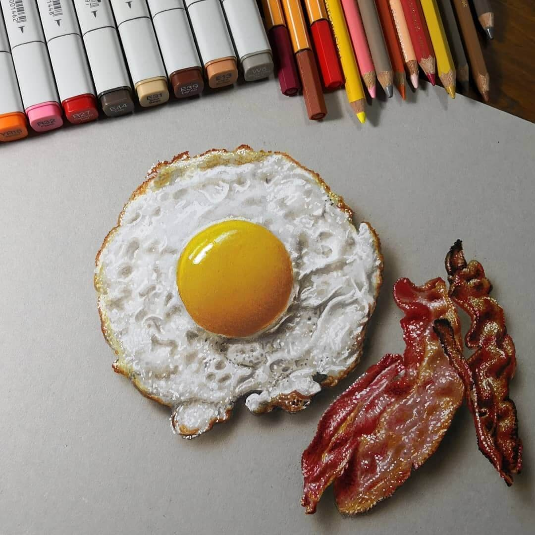 11-Egg-and-bacon-Marcello-Barenghi-Drawings-that-Mirror-Reality-www-designstack-co