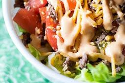 LOW CARB-Cheeseburger Salad with Big Mac Dressing