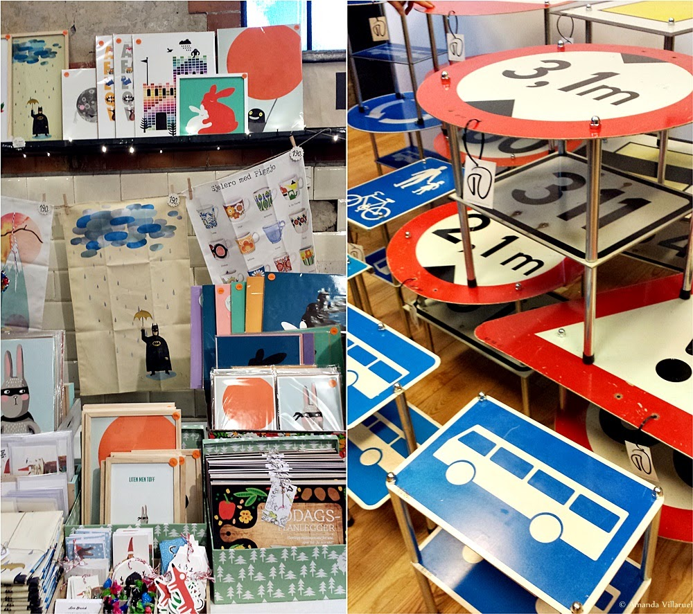 Posters, illustrations, cards and road sign coffee tables