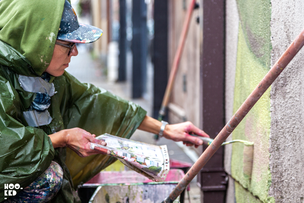 Spanish Street Artist Lula Goce at work on her Waterford Mural.