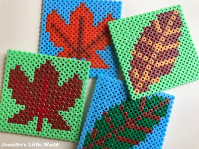 Leaf themed Hama bead coasters