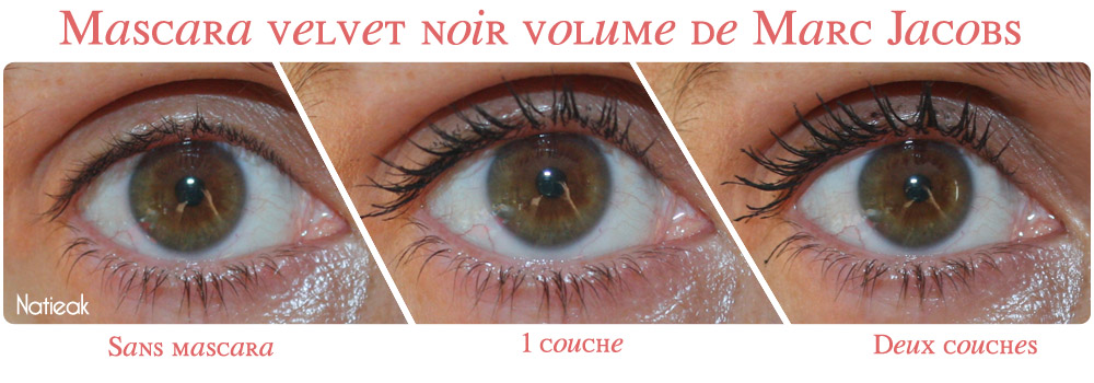 Avant/après mascara velvet noir volume de Marc Jacobs