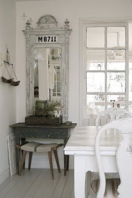 Breathtaking beautiful Swedish style dining room with calm, peaceful decor - found on Hello Lovely Studio
