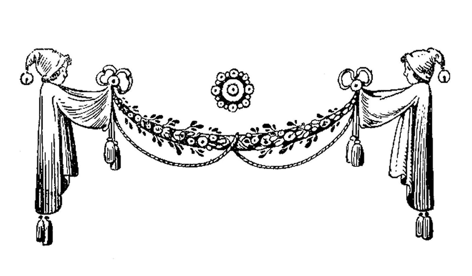 Vintage Graphic Design: Black And White Illustration Of Curtain Design