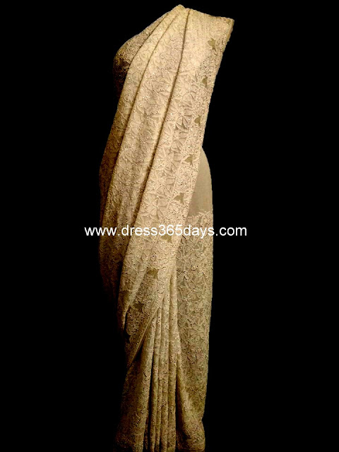 White Pure Georgette Chikan Saree