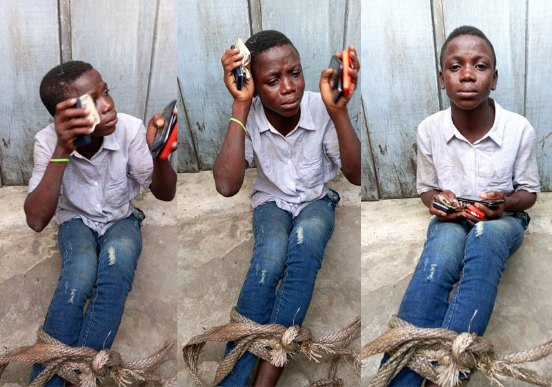 Little boy tied up for allegedly stealing mobile phones, money at chieftaincy party