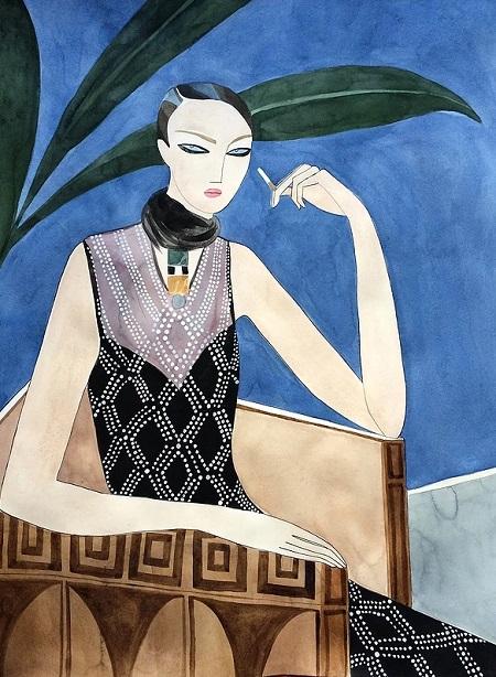 Kelly Beeman arte | dibujo en acuarela de mujer elegante en vestido retro fashionista