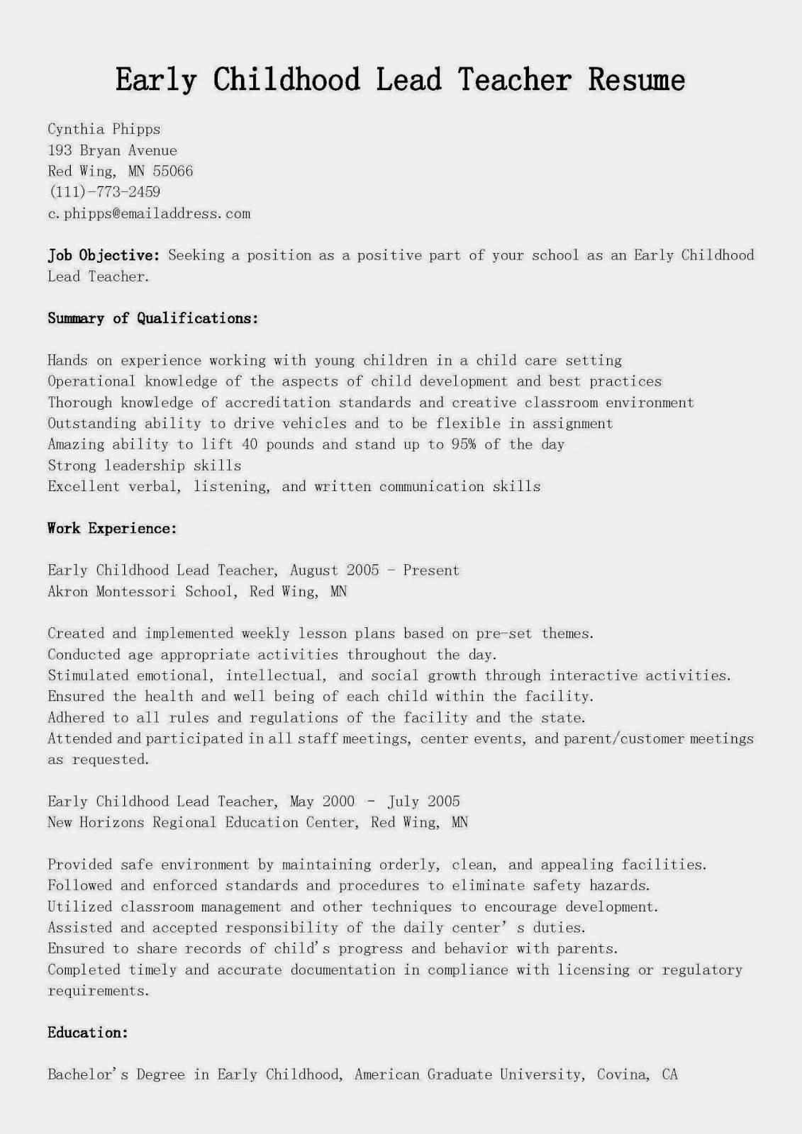 Early Childhood Assistant Cover Letter | Founders Day Student Essay ...