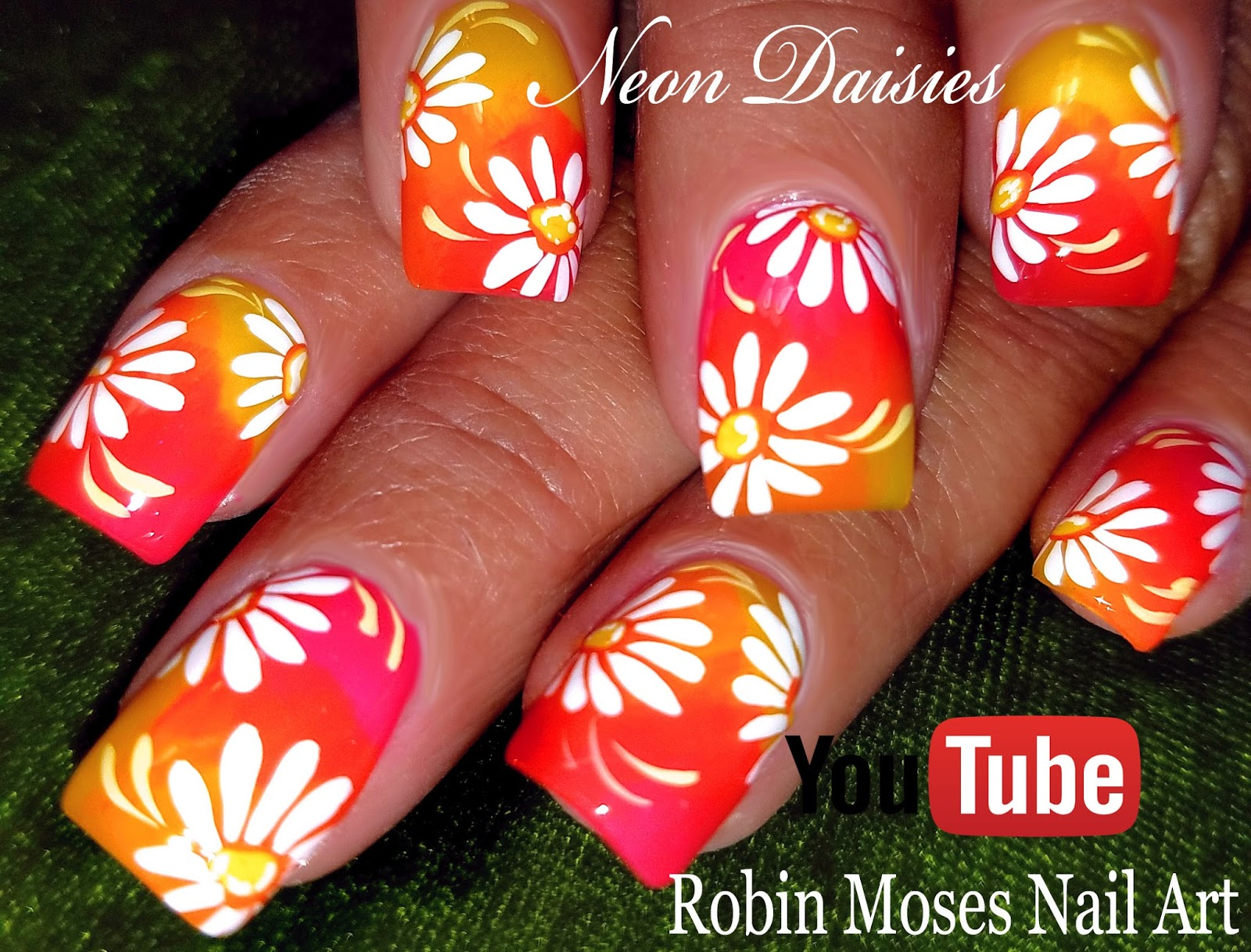 Nail Art By Robin Moses Diy Neon Daisy Nails Hot Flower Nail Art