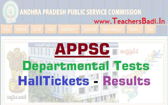 APPSC Departmental tests,results,Hall tickets