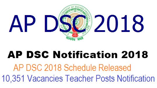 AP DSC 2018 Schedule Released – 10,351 Vacancies Teacher Posts Notification