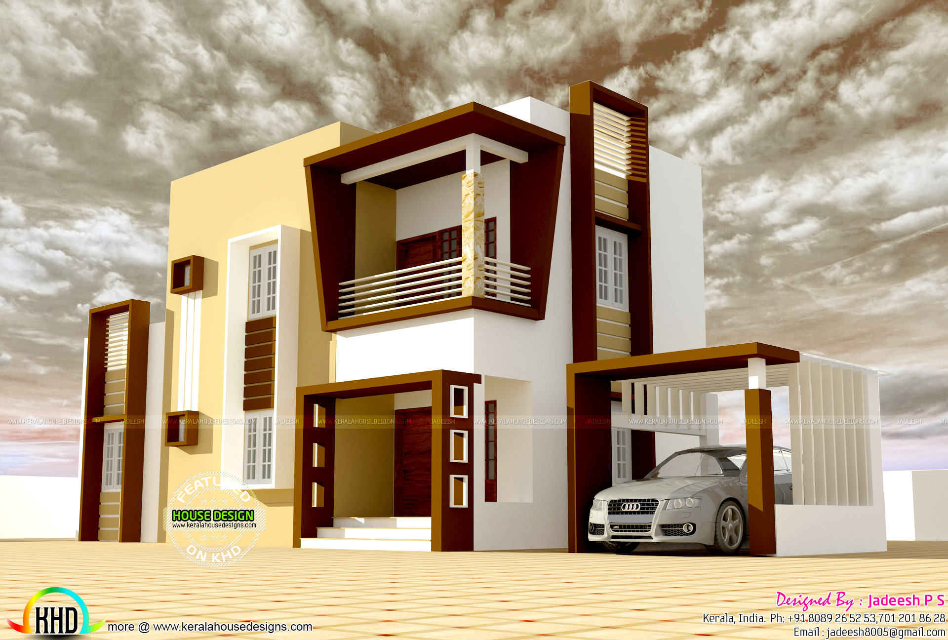 Cost 19 lakhs modern house plan kerala home design and for Estimated cost building duplex