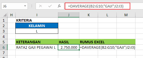 Contoh Fungsi DAVERAGE Excel