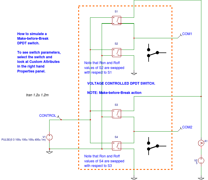 Circuit Simulator: How to simulate a DPDT switch
