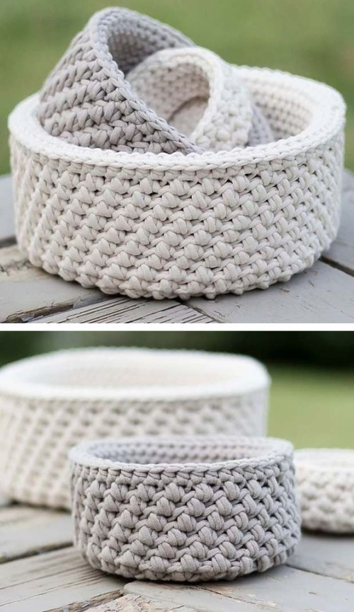 Mini Nesting Baskets - Free Crochet Pattern