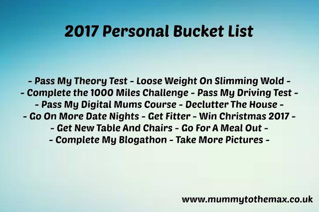 Personal Bucket List 2017