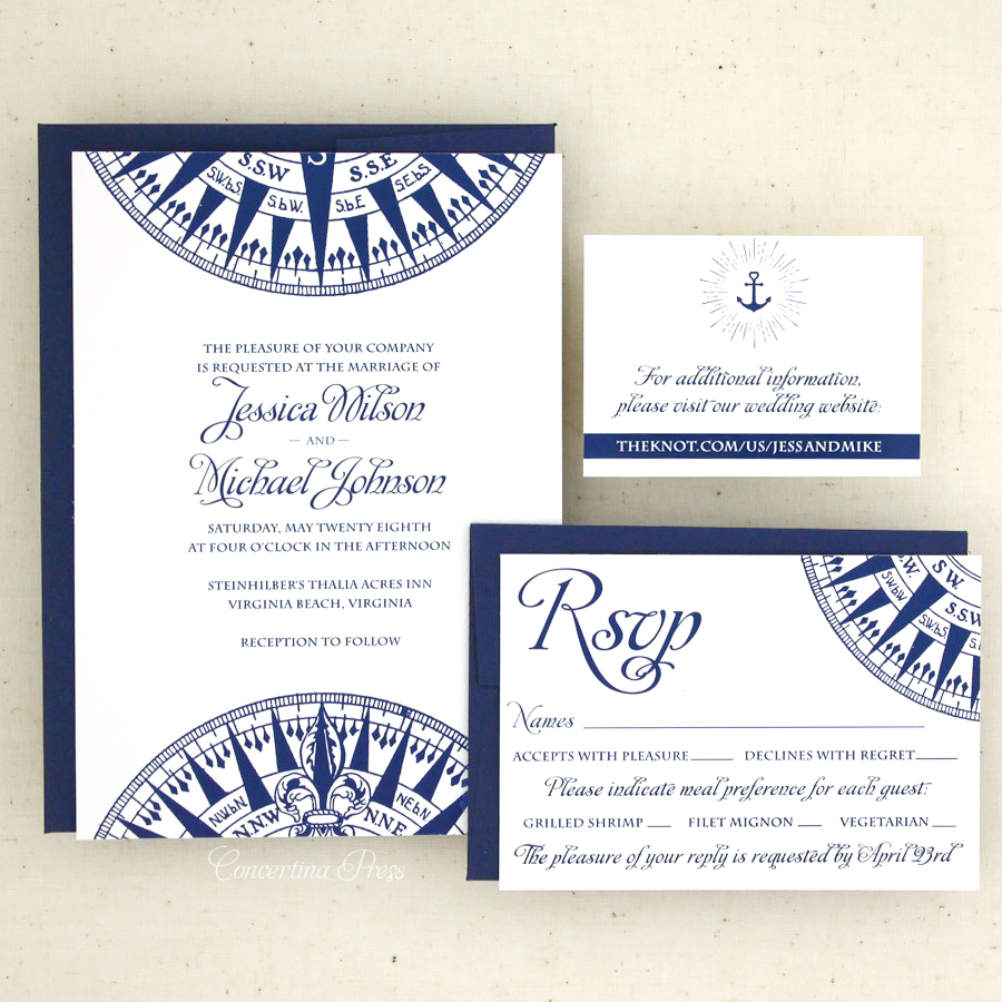 Nautical Wedding Invitations with website card and RSVP card