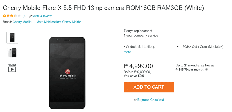Cherry Mobile Flare X V2 With 3 GB RAM Spotted At Lazada For 4999 Pesos Only!