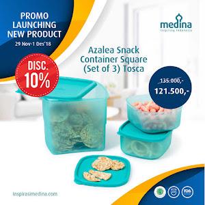 Azalea Snack Container Square (Set of 3) Tosca