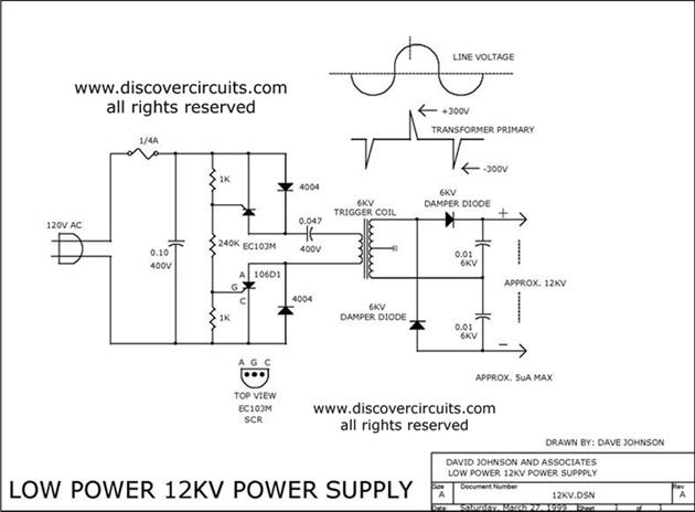 12KV High Voltage Generator  Electronic Schematic Circuit