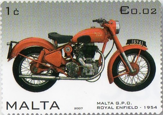 Postage stamp with image of a motorcycle.