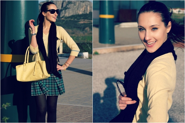 plaid skirt outfit ideas for winter