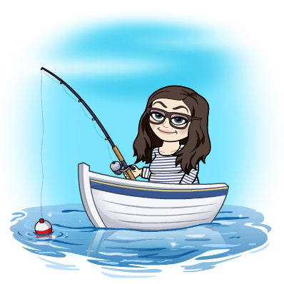 image of a cartoon version of me in a boat with a fishing pole