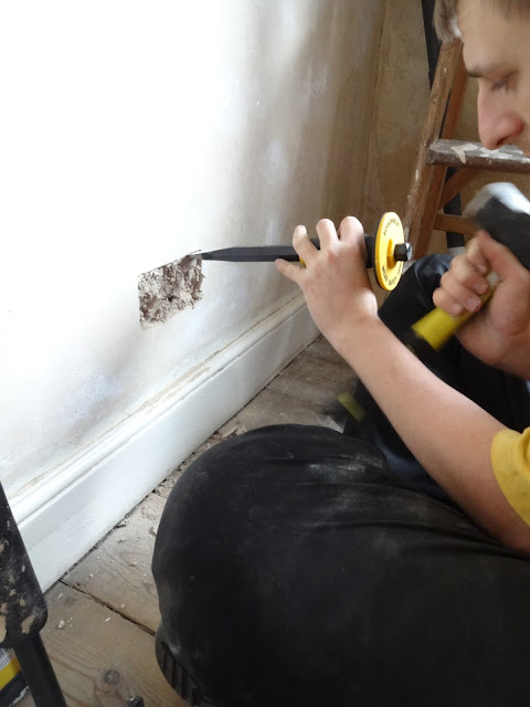 chiselling lath and plaster wall