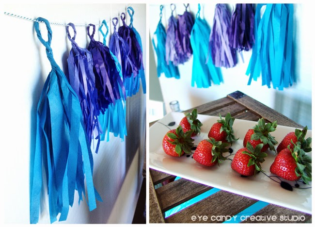 shades of blue tissue garland, strawberries on platter, father's day