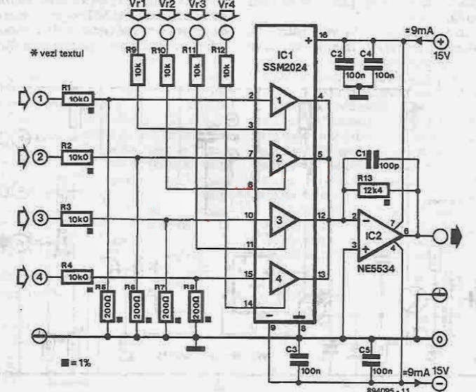 4 Channel Audio Mixer Circuit Diagram Circuit Wiring