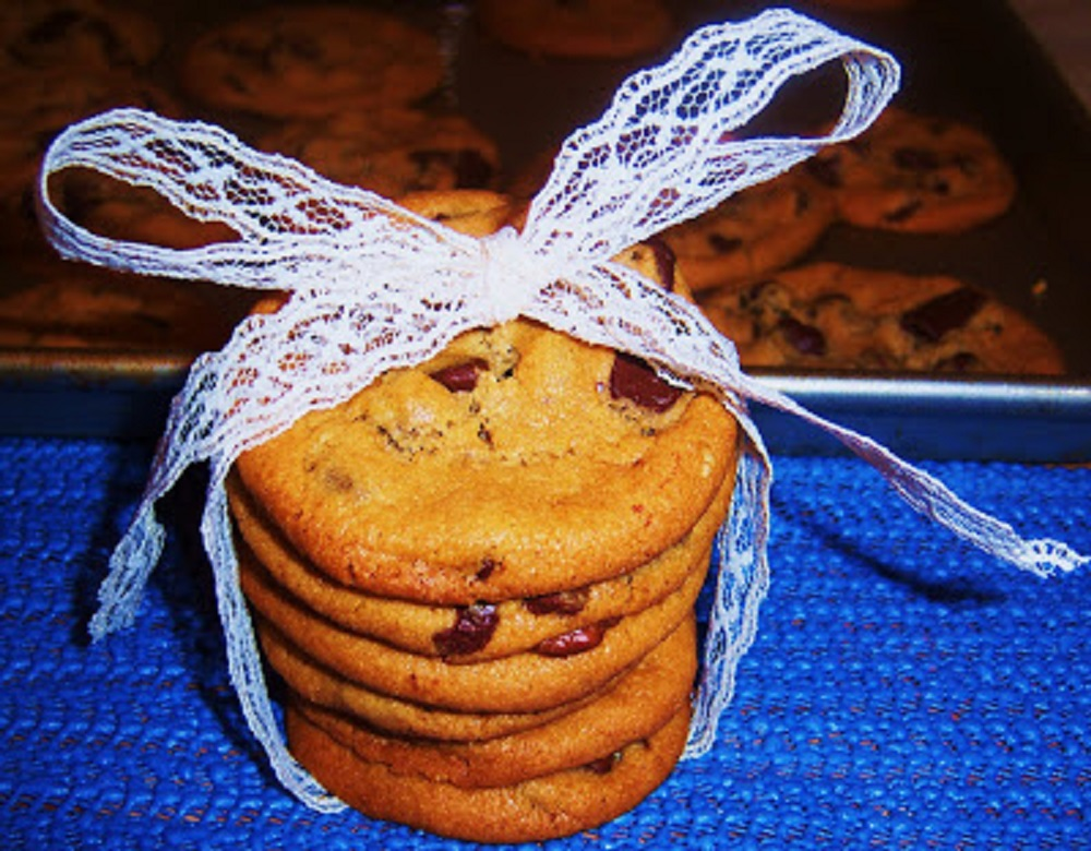 Chochocolate chip cookies with chunks of chocolate warm and bakery style