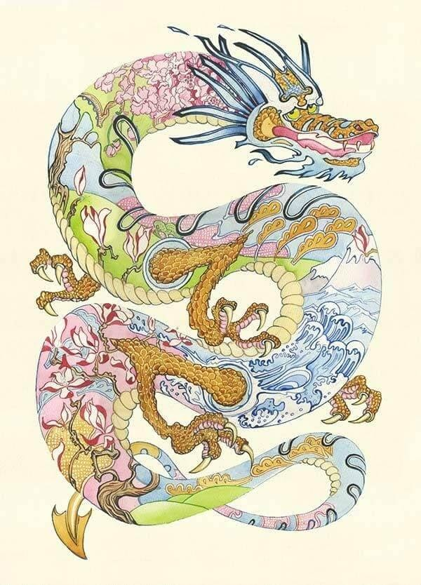 04-Three-Clawed-Dragon-Daniel-Mackie-Flora-and-Fauna-Watercolour-illustrations-www-designstack-co
