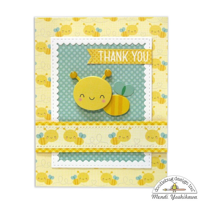 Doodlebug Design Spring Things Bumblebee Thank You Card by Mendi Yoshikawa