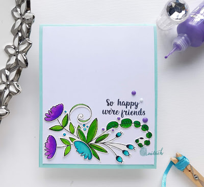Uniko Ltd, floral card, die cutting, Diecut, quillish, zig, Zig clean colour brush pens, Card for her, CAS, CAS card, cards by Ishani,  quillish, uniko originally organic stamp
