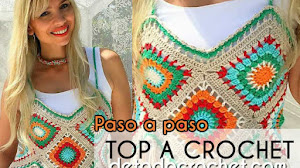 Cómo Tejer Top crochet granny square / Tutorial Paso a paso