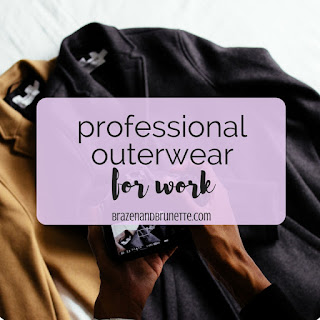 5 pieces of outerwear to add to your work wardrobe to conquer the elements, which what to wear to work when it's snowing and what to wear to work when it's raining. How to start building a professional wardrobe. What coats and jackets you really need for work. professional coats. work jackets. law school blog. law student blogger | brazenandbrunette.com