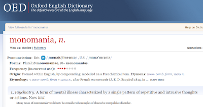 OED entry for monomania