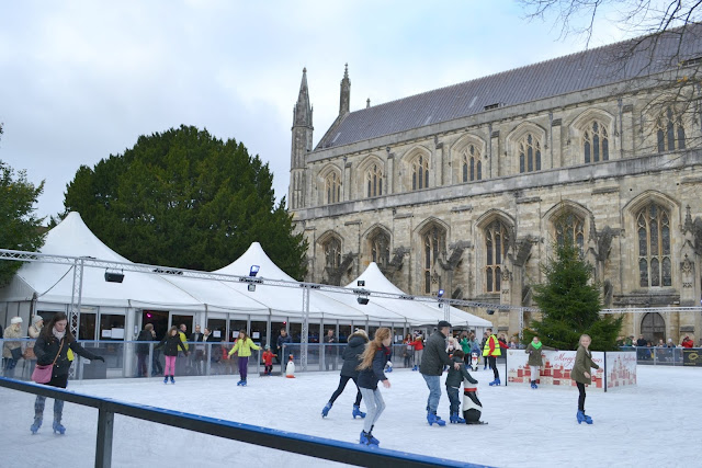 The ice rink with the Cathedral in the background