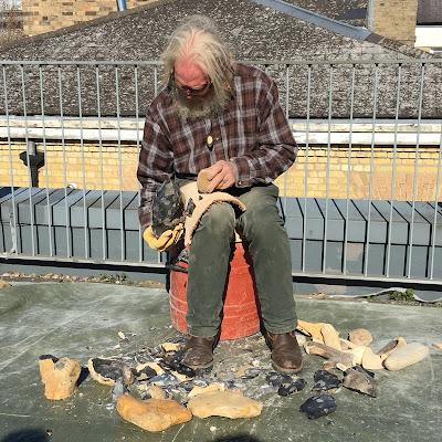 John Lord flintknapping demonstration at LCHES