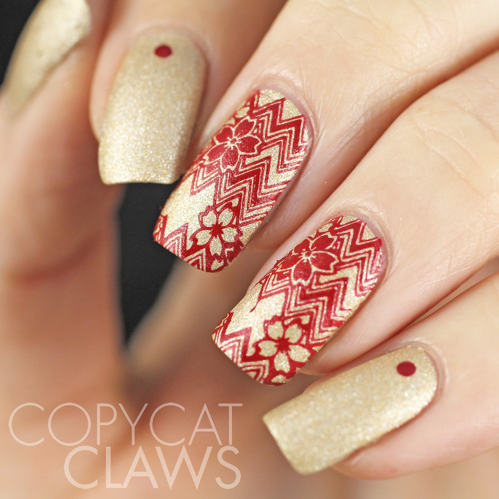 Copycat Claws Red And Gold Chevron Nail Stamping