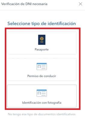 validar DNI, pasaporte o carné conducir para registro en Coinbase