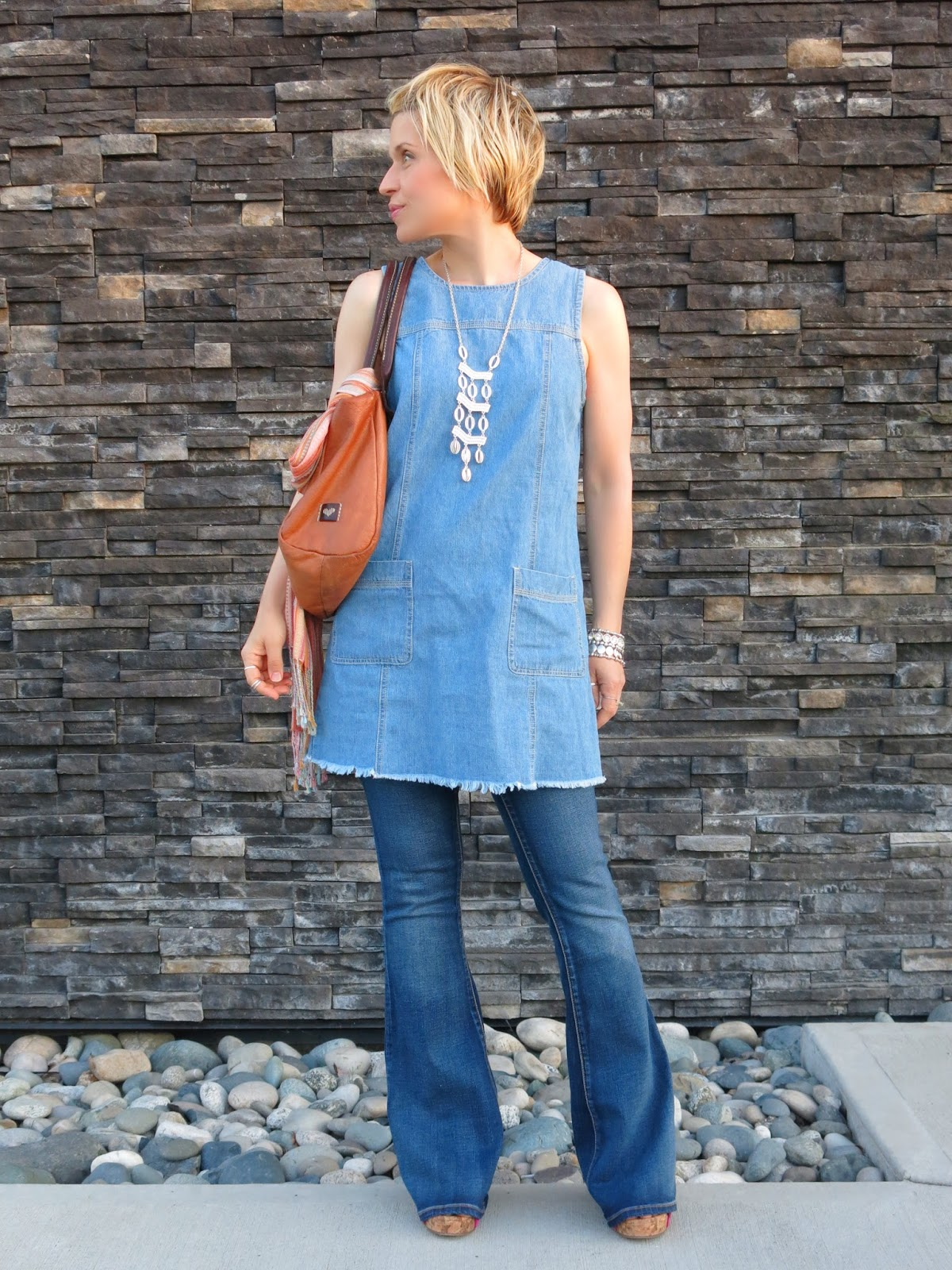 Sleepwalking:  Flare jeans and a denim shift dress