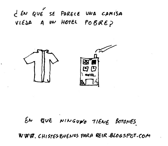 ¿En qué se parece una camisa vieja a un hotel pobre? En que ninguno tiene botones.