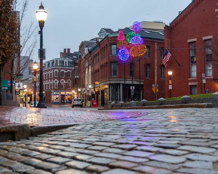 Portland, Maine USA December 2018 photo by Corey Templeton. A quiet Old Port scene on this wet and unusually warm winter day.