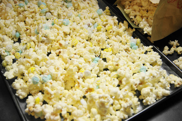 Making Baby Shower White Chocolate Popcorn